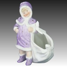 Antique German Heubach Bisque Christmas/Winter Girl Container ca1910