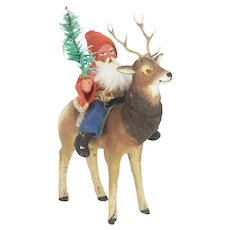 Antique German Santa on Reindeer Candy Container ca1910