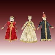 Antique German Miniature Grodnertal Wood Dolls Set of 3 ca1840