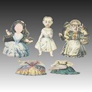 Antique Rare European Hand Colored Paper Doll Toys ca1830