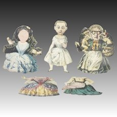 Antique Rare European Hand Colored Paper Doll Toys ca1830
