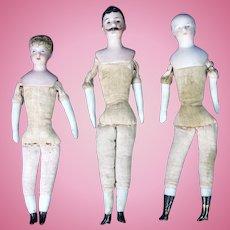 Antique German Bisque Doll House Dolls Set of 3 ca1920