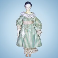 "Antique German Grodnertal Wood Doll 6"" ca1830"