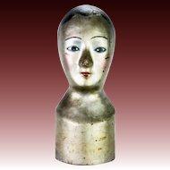 Antique Pressed Paper Millinery Hat Form Mannequin Head ca1830