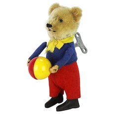 Vintage Wind Up Schuco Bear with Ball
