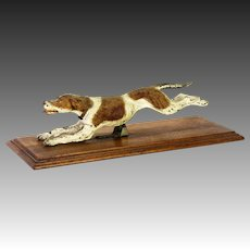 Antique Large Austrian Cold Painted Bronze Running Dog Clip ca1900