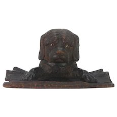 Antique Black Forest Dog Head Inkwell Pen Rest ca1890