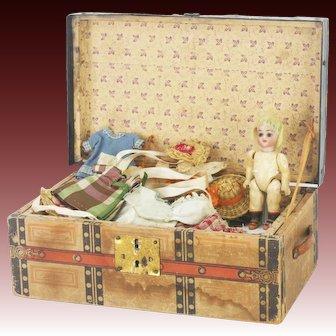 Antique German Miniature Bisque Doll Wardrobe Trunk ca1910