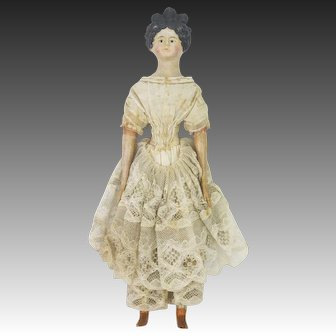 Antique Milliners Model Doll Paper Mache and Wood ca1870