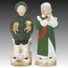 Antique German Heubach Bisque Boy and Girl Holding Dogs and Kitten