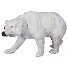 Antique German Paper Mache Polar Bear Candy Container ca1910