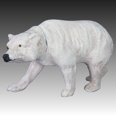 Antique German Paper Mache Polar Bear Candy Container ca1910
