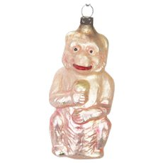 Antique German Blown Glass Monkey Christmas Ornament ca1910