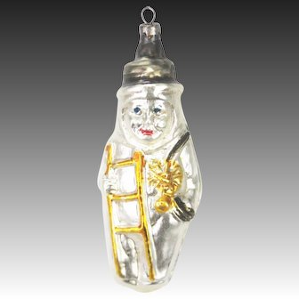 Antique German Blown Glass Chimney Sweep Christmas Ornament ca1920