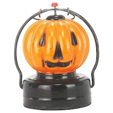 Vintage Electric Glass Halloween Pumpkin Lantern Light ca1950