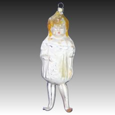 Antique German Blown Glass Mary Pickford Extended Leg Christmas Ornament ca1910
