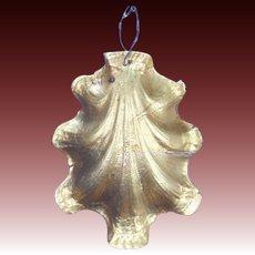 Antique German Dresden Clam Shell Christmas Ornament ca1910