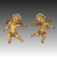 Antique Cherubs Carved Painted Gilded Wood ca1850