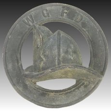 Antique Cast Metal WGFD Fire Department Helmet Emblem ca1910