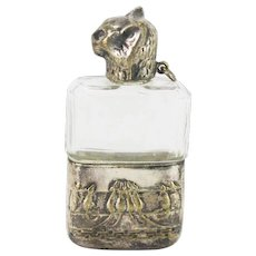 Antique Silver Plated Metal and  Glass Cat Head Perfume Bottle ca1910