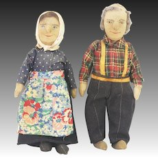 Antique Pair of Painted Cloth Dolls Husband and Wife ca1910