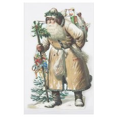 Antique German Father Christmas Santa Die Cut ca1880