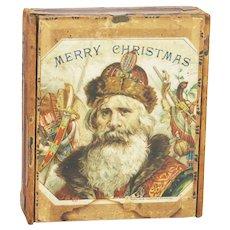 Antique Christmas Santa small cigar box 1880