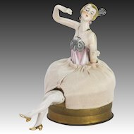 Vintage German Porcelain Lady Pin Cushion Container ca1920