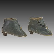 Antique French Fashion Leather Doll Shoes Boots ca1890