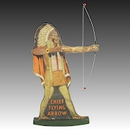 Vintage Chief Flying Arrow Paper Litho Metal Bow Toy Advertising