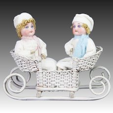 Antique German Bisque Head Christmas Doll Candy Containers in Sled ca1910