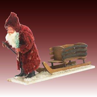 Antique German Paper Mache Santa Pulling Wood Sled ca1910