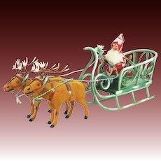 Antique German Reindeer Pulling Santa in Sleigh ca1910