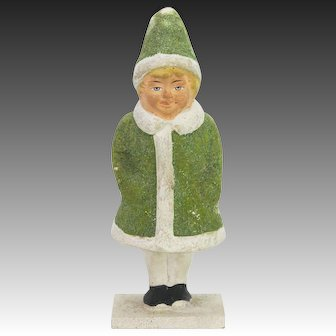 Antique German Paper Mache Christmas Girl Candy Container ca1910