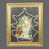 Antique German Framed Die Cut Christmas Angel ca1890
