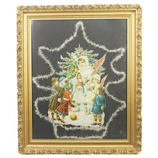 Antique German Framed Die Cut Christmas Angel ca1890