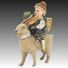Antique German Easter Bunny Rabbit Candy Container with Bisque Rider ca1910