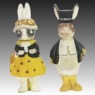 Antique German Pair of Easter Bunny Rabbit Candy Containers ca1915