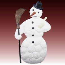Antique Large Rare German Embossed Die Cut Snowman