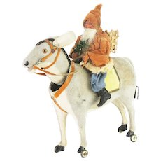 Antique Early German Santa on Donkey Nodder Pull Toy ca1900