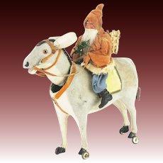 Antique Early German Santa on Donkey Nodder Pull Toy ca1900