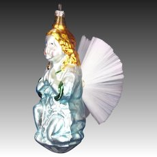 Antique German Blown Glass Praying Angel with Spun Glass Wings Ornament ca1920