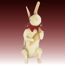 Antique German Cotton Batting Bunny Rabbit Christmas Ornament ca1910