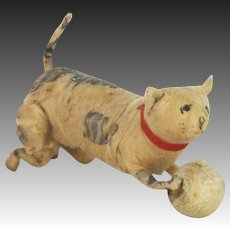 Antique German Cotton Batting Cat with Ball Christmas Ornament ca1910