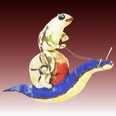 Antique Very Rare German Cotton Batting Frog Riding Snail Christmas Ornament ca1910