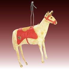Antique German Cotton Batting Horse Christmas Ornament ca1910