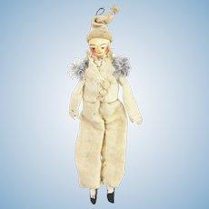"Antique European Grodnertal Wood Head Doll 8"" ca1810"
