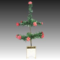 Antique German Feather Tree in Planter Candy Container ca1910