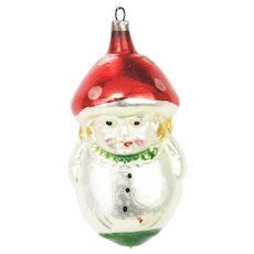 Vintage German Blown Glass Mushroom Head Christmas Ornament ca1920
