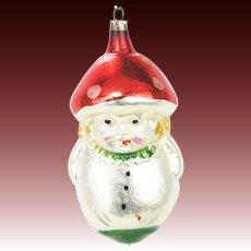 Vintage German Blown Glass Mushroom Head Christmas Ornament ca1920